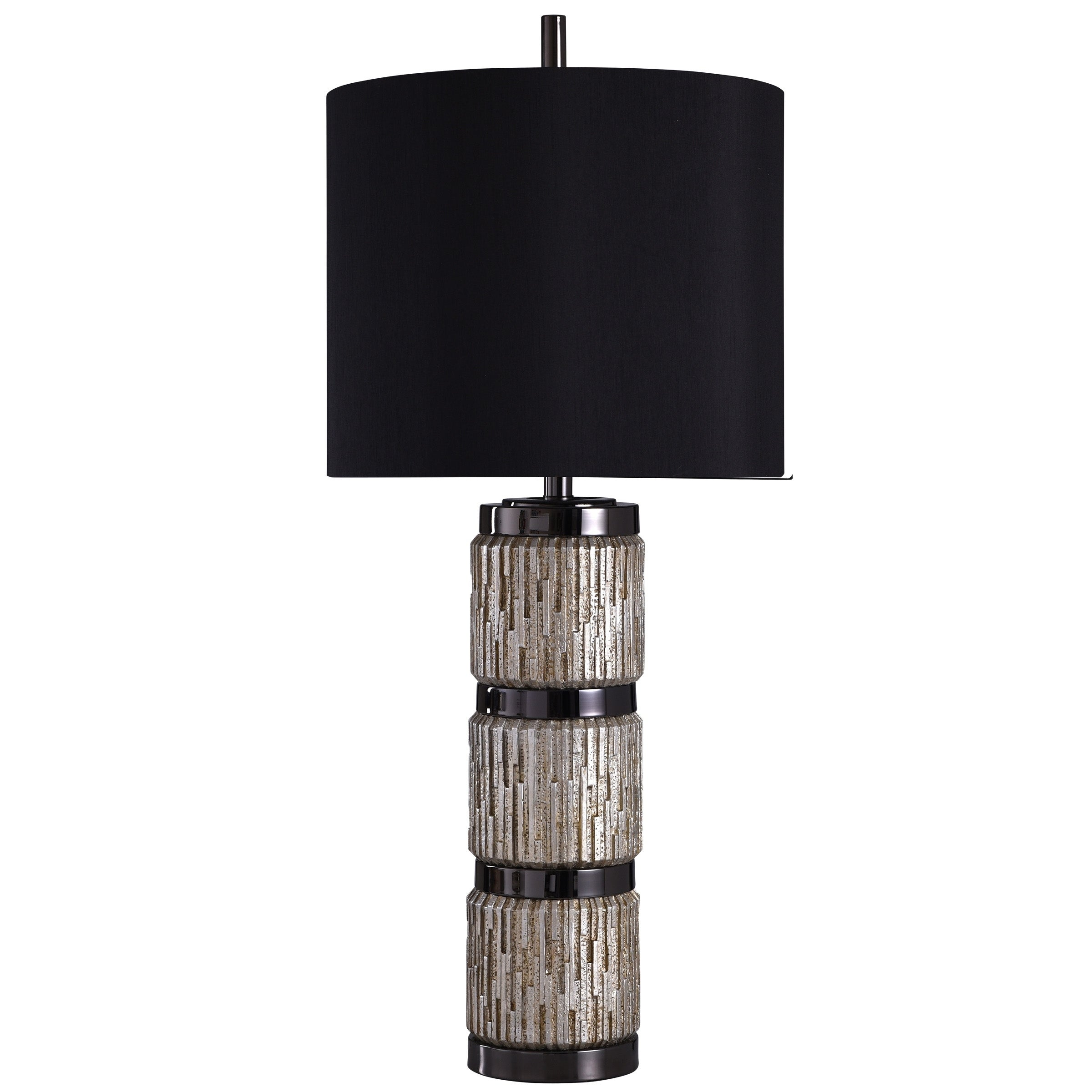 Silver Table Lamp Black Shade