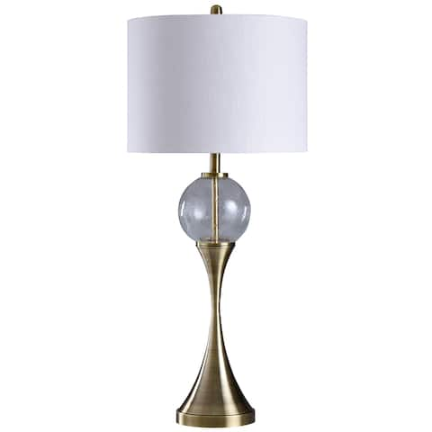 StyleCraft Brundidge Silver and Grey Glass Table Lamp - White Shade