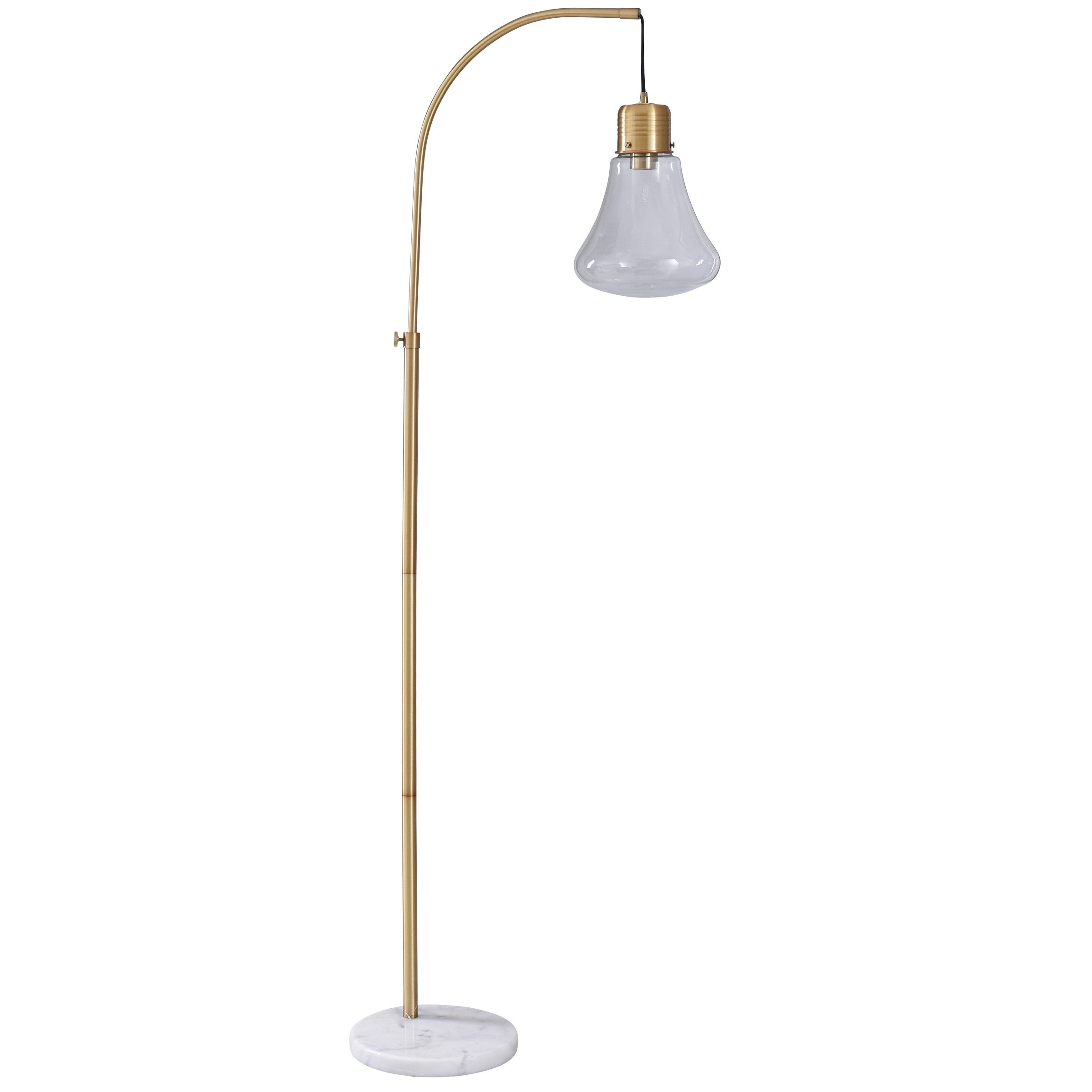 Shop Cordea White And Gold Floor Lamp Clear Glass Shade Overstock 22303057