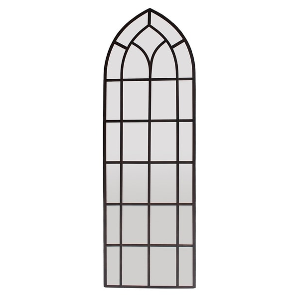 Three Hands Metal Wall Decor Mirror - Rust - Black - Horizontal