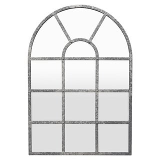 Three Hands Grey Metal Arch-Crowned-Top Medium Wall Decor Mirror
