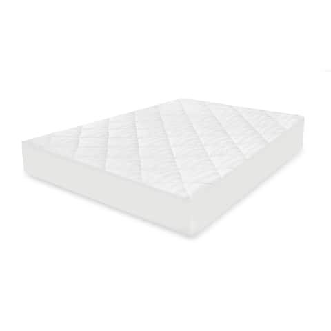 Restonic 400 Thread Count Striped Mattress Pad - White