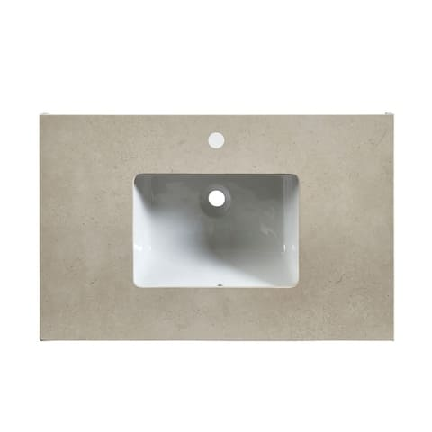 """Silkroad Exclusive 36"""" W x 23"""" D x 3.5"""" H Vanity Top with White Sink"""