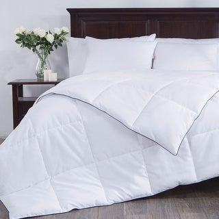 St. James Home White Down Alternative Comforter with Navy Blue Edge