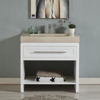 "Silkroad Exclusive 36"" Modern Single Sink Bathroom Vanity White Cabinet Base and Optional Top"