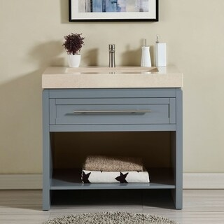 "Silkroad Exclusive 36"" Modern Single Sink Bathroom Vanity Grey Cabinet Base and Optional Top"