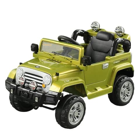 Aosom 12V Kids Electric Battery Ride On Toy Off Road Car Truck with Remote Control - Green