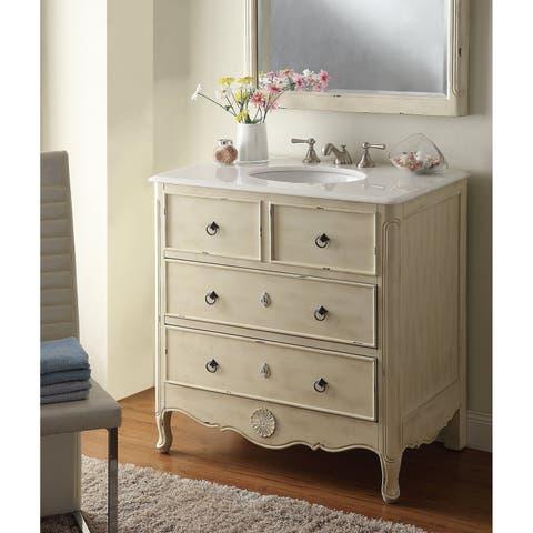 "34"" Benton Collection Distressed Cream Daleville Bathroom Sink Vanity"