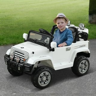 Aosom 12V Kids Electric Battery Ride On Toy Off Road Car Truck with Remote Control - White
