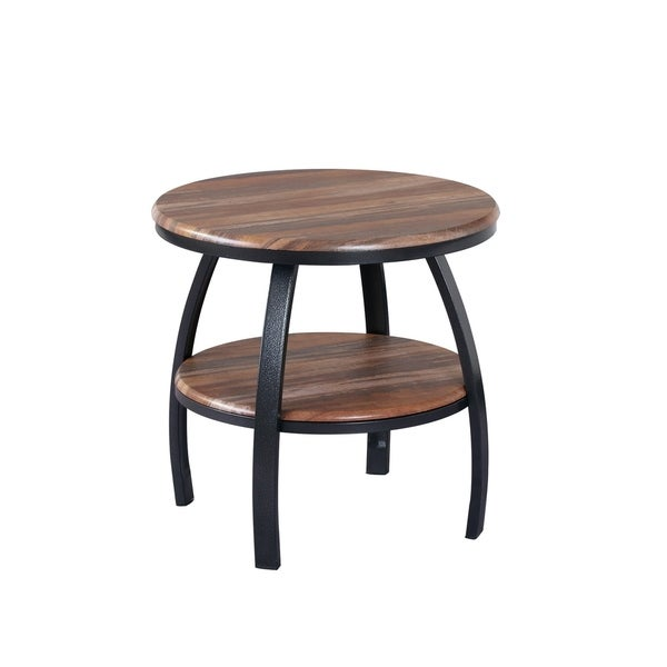 Shop Emerald Home Carson Natural Wood And Soft Black Round