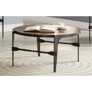 Emerald Home Franklin's Forge Honeyed Amber and Antique Black Round Coffee Table with Pieced Wood Top And Forged Steel Legs