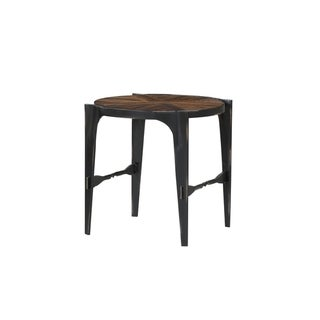 Emerald Home Franklin's Forge Honeyed Amber and Antique Black Round End Table with Pieced Wood Top And Forged Steel Legs