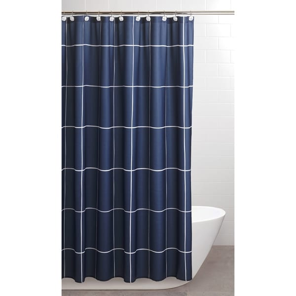 Sparrowhawk Brandon Twill Blue White Shower Curtain With Coordinating Hook 13 Piece Set