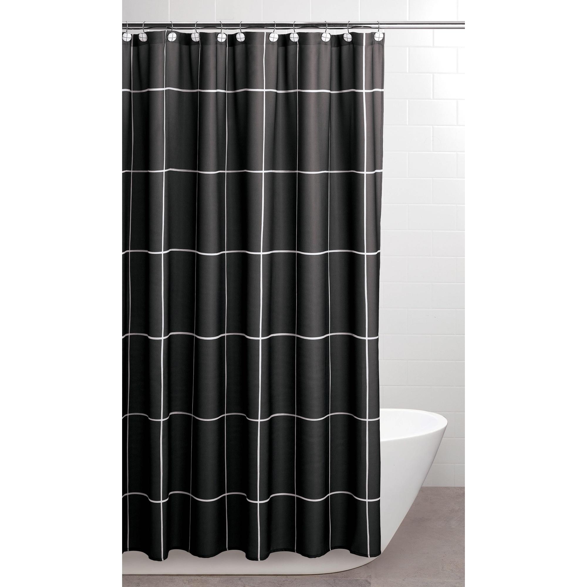 Sparrowhawk Brandon Twill Black/White Shower Curtain With Coordinating  Hook, 13 Piece Set