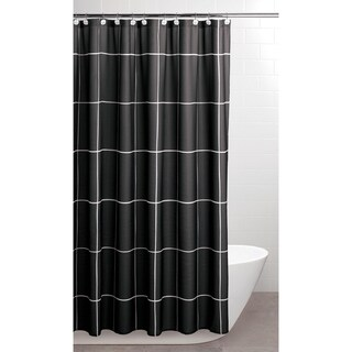 Sparrowhawk Brandon Twill Black/White Shower Curtain with Coordinating Hook, 13-Piece Set
