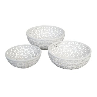 Three Hands Ceramic/Pierced Bowl Set Of 3