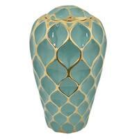 Three Hands Porcelain Vase-Turquoise & Gold