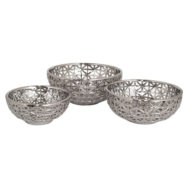 Three Hands Plated Ceramic/Metallic-finish Pierced Bowls (Set of 3)