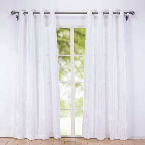 St. James Home Embroidered Rhombic Pattern Curtain Panel Pair