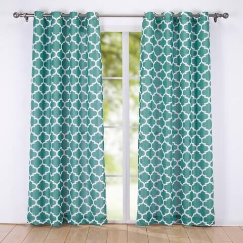 Decorative Window Geometric Semi-Sheer Grommet Curtain Panel