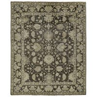 "Grand Bazaar Handmade Alden Charcoal/Multicolor Wool/Cotton Area Rug - 5'6"" x 8'6"""