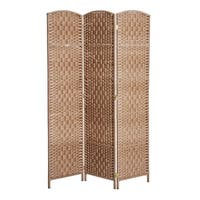 HomCom 6' Tall Wicker Weave Three Panel Room Divider Privacy Screen - Natural Blonde Wood