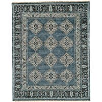 Grand Bazaar Alden Dark Blue/Grey Wool/Cotton Handmade Area Rug - 9'6 x 13'6