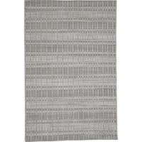 Grand Bazaar Odami Grey/Silver Wool, Viscose, and Cotton Handmade Contemporary Area Rug - 7'3 x 9'3