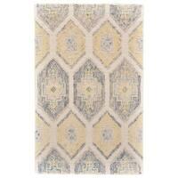 Grand Bazaar Binada Grey/ Yellow Cotton/ Nylon/ Wool Area Rug - 8' x 11'