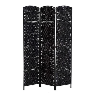 HomCom 6' Tall Wicker Weave Three Panel Room Divider Privacy Screen - Black Wood