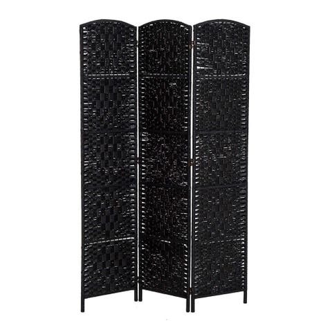 HomCom 6' Tall Wicker Weave Three Panel Room Divider Privacy Screen - Black Wood