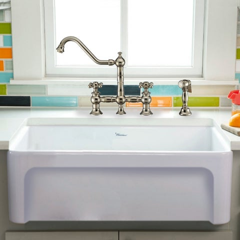 """Whitehaus Collection Fireclay 30"""" Sink with Elegant Beveled Front Apron on one side and Decorative 2"""" Lip Plain on Opposite Side"""