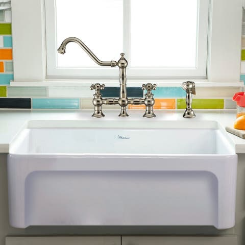 "Whitehaus Collection Fireclay 30"" Sink with Elegant Beveled Front Apron on one side and Decorative 2"" Lip Plain on Opposite Side"