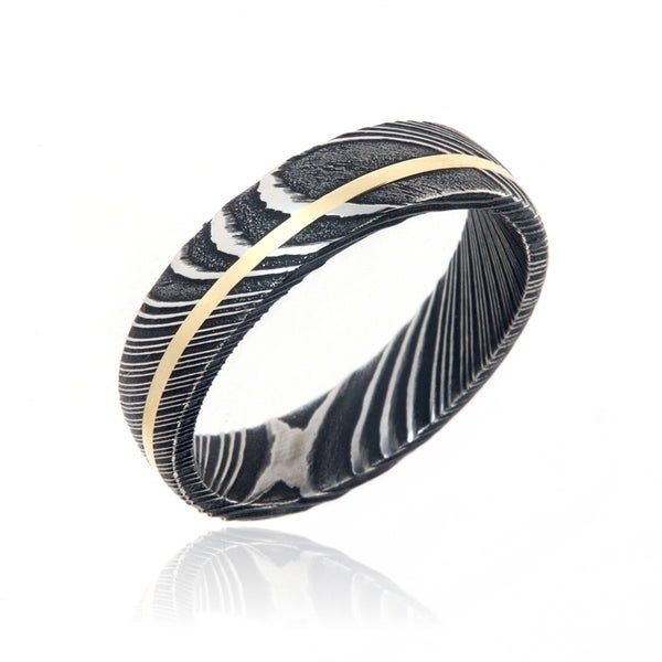 Damascus Steel Wedding Bands USA Made 14k Gold Rings Damascus Rings - Black