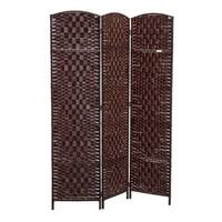 HomCom 6' Tall Wicker Weave Three Panel Room Divider Privacy Screen - Chestnut Brown
