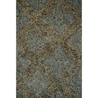 Hand-hooked Wool Dark Grey/ Multi Traditional Damask Area Rug - 3'6 x 5'6'