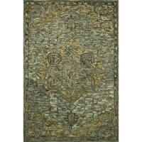 "Hand-hooked Wool Dark Green/ Brown Traditional Medallion Area Rug - 2'3"" x 3'9"""
