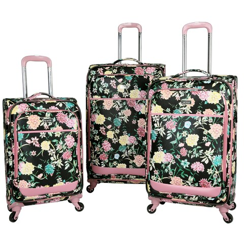 Kensie Le Jardin Collection 3-piece Soft-Side Spinner Luggage Set