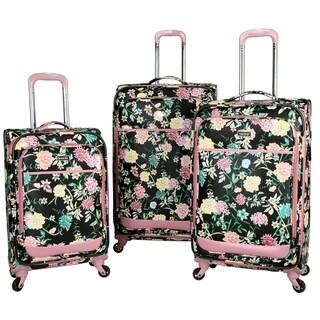Kensie Le Jardin Collection 3-piece Soft-Side Spinner Luggage Set