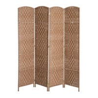 HomCom 6' Tall Wicker Weave Four Panel Room Divider Privacy Screen - Natural Blonde Wood
