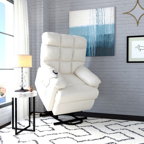 ProLounger Power Recline and Lift Chair in Cream Renu Leather