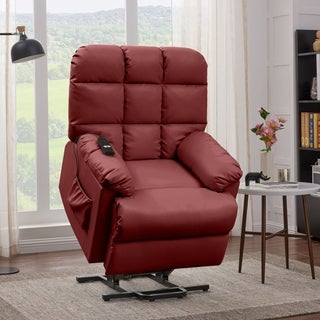ProLounger Power Recline and Lift Wall Hugger Chair in Burgundy Red PU