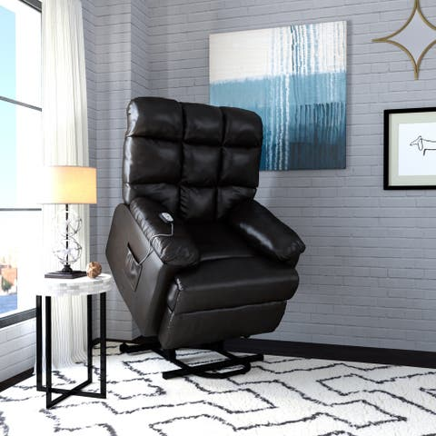 ProLounger Power Recline and Lift Wall Hugger Chair in Coffee Brown Renu Leather
