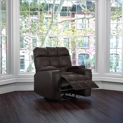 Copper Grove Jessie Coffee Brown Renu Leather Storage Recliner Chair