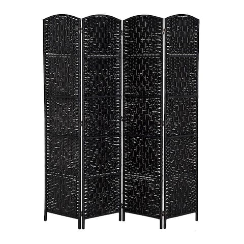 HomCom 6' Tall Wicker Weave Four Panel Room Divider Privacy Screen - Black Wood