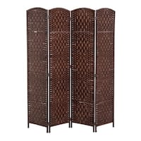HomCom 6' Tall Wicker Weave Four Panel Room Divider Privacy Screen - Chestnut Brown