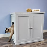 The Refined Feline's  Kitty Enclosed Wooden End Table & Litter Box -Smoke (As Is Item)