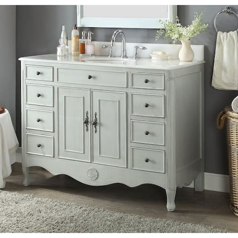 """46.5"""" Benton Collection Daleville Distressed Gray Shabby Chic Vanity"""