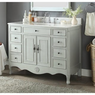 "46.5"" Benton Collection Daleville Distressed Gray Shabby Chic Vanity"