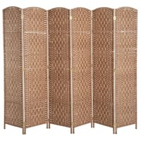 HomCom 6' Tall Wicker Weave Six Panel Room Divider Privacy Screen - Natural Blonde Wood